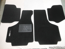 Matten set zwart 4 delig opdruk Fiat 500