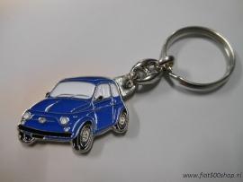 Sleutelhanger blauw Fiat 500