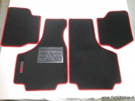 Mattenset  4 delig rood  opdruk Fiat 500