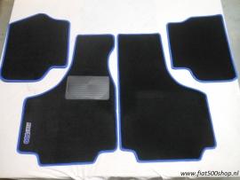 Mattenset 4delig blauw opdruk Fiat 500