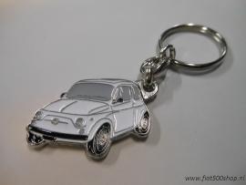Sleutelhanger wit Fiat 500
